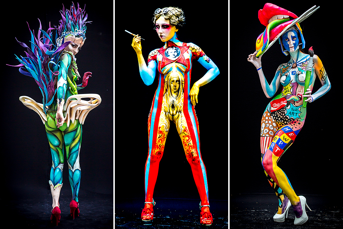 Models Covered Only In Paint Compete At The 17th World Bodypainting Festival In Austria