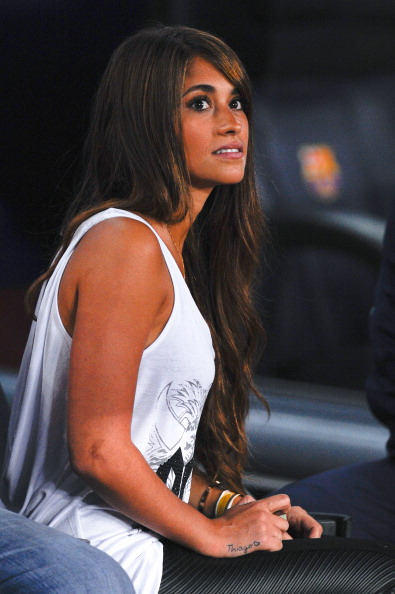 Antonella Roccuzzo looks on prior to the La Liga match between FC Barcelona and Real Sociedad de Futbol at Camp Nou on September 24, 2013 in Barcelona, Spain.