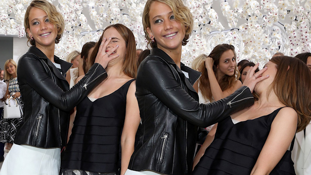 Emma Watson and Jennifer Lawrence on Front Row at Time-Travelling Paris Dior Show