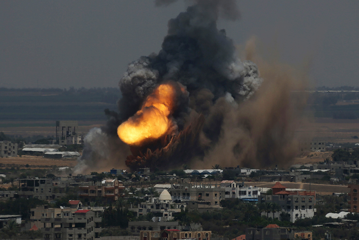 Smoke and flames billow after an Israeli air strike in Rafah in the southern Gaza Strip