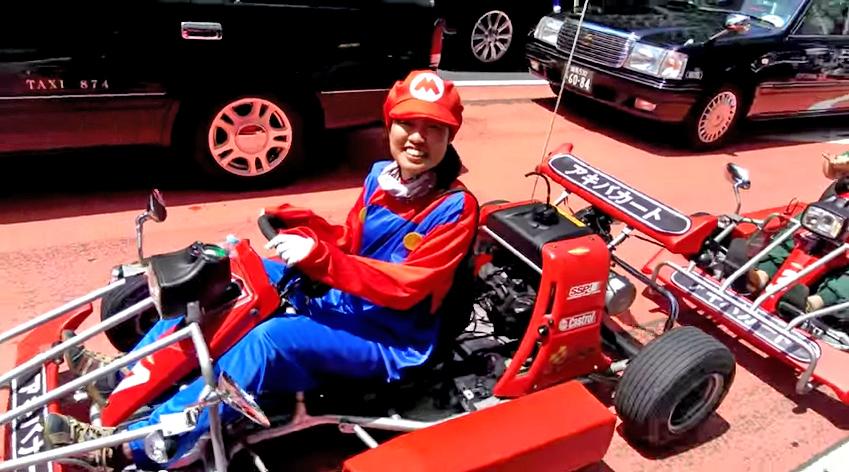 A real-life Mario driving his Mario Kart in Tokyo