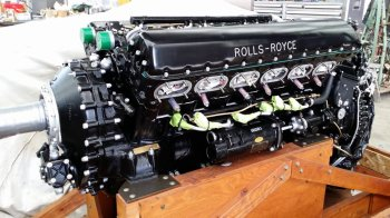 A Rolls-Royce engine being restored for a Spitfire plane at Avspecs
