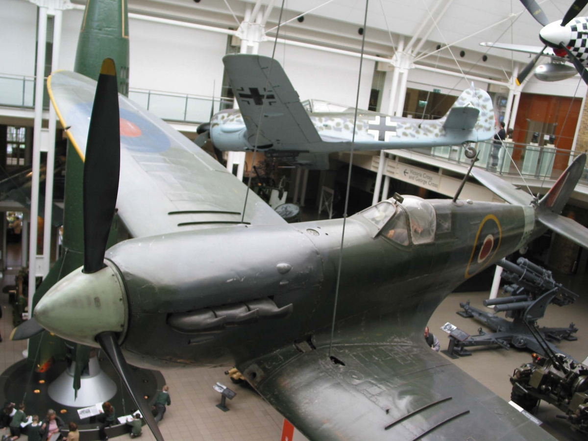 A Spitfire suspended as part of the Imperial War Museum's permanent collection in London