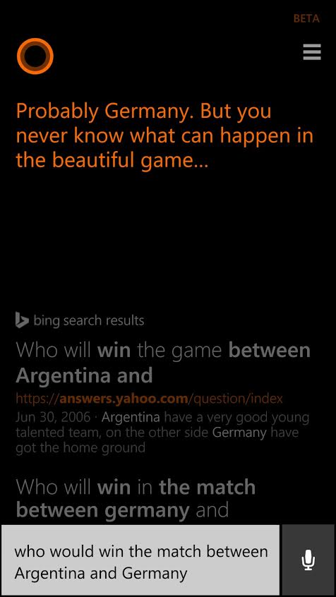 Cortana predicts germany vs argentina results for 2014 fifa world cup final
