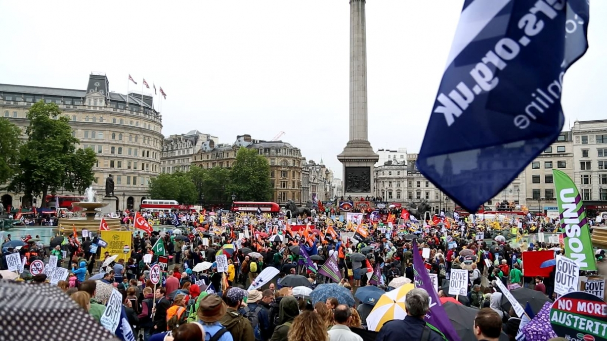 Public Sector Strikers Hold Mass Rally in Trafalgar Square