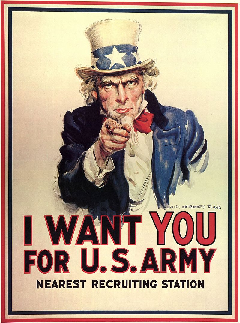 """Uncle Sam's """"I Want You"""" World War I US Conscription Campaign Poster"""