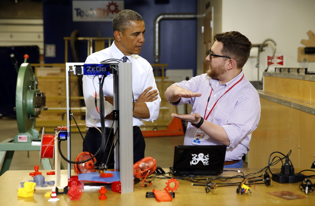 President Obama learns about 3D printers on a visit to visit to TechShop last month