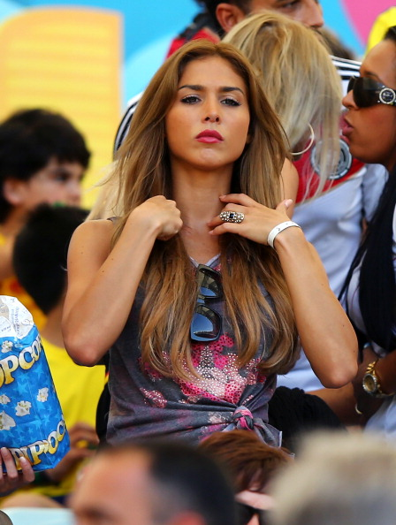 Germany's midfielder Mario Gotze girlfriend Ann-Kathrin Brommel met in a club in early 2012. She is always seen cheering for him on the stands.