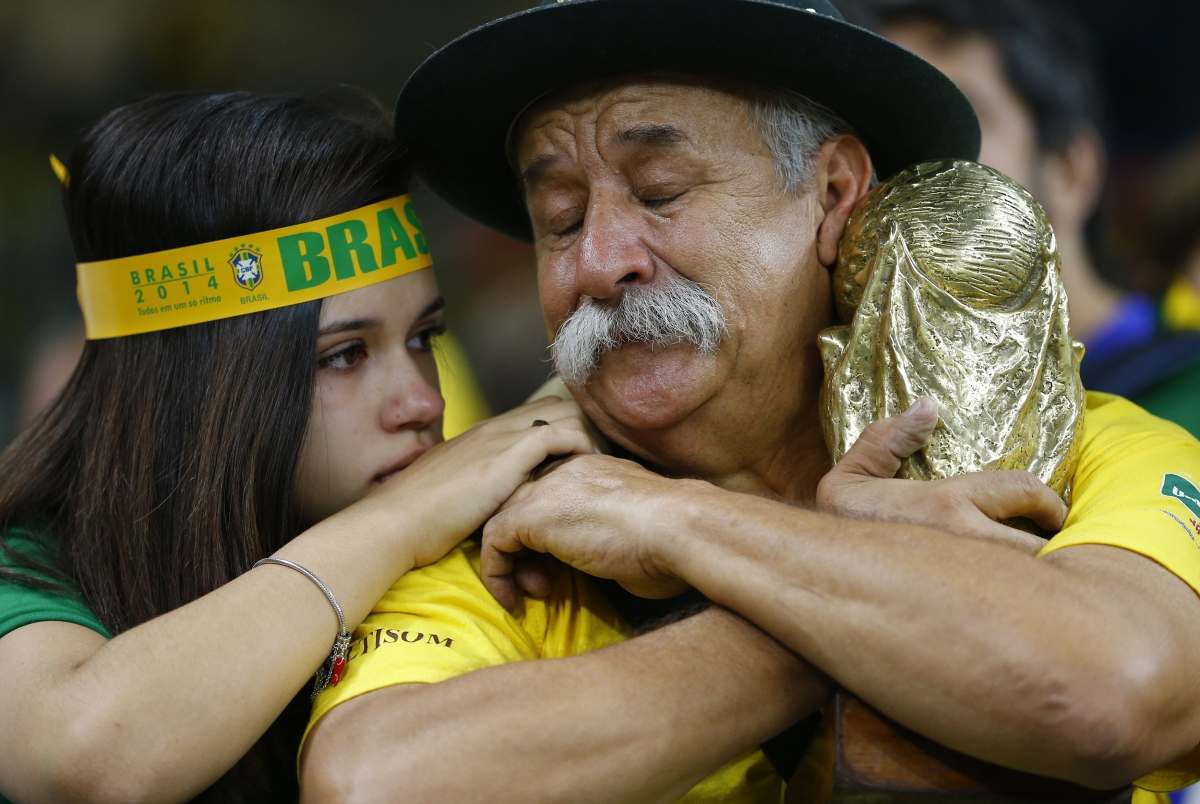 A young girl offers comfort for the biggest humiliation in the history of Brazilian football