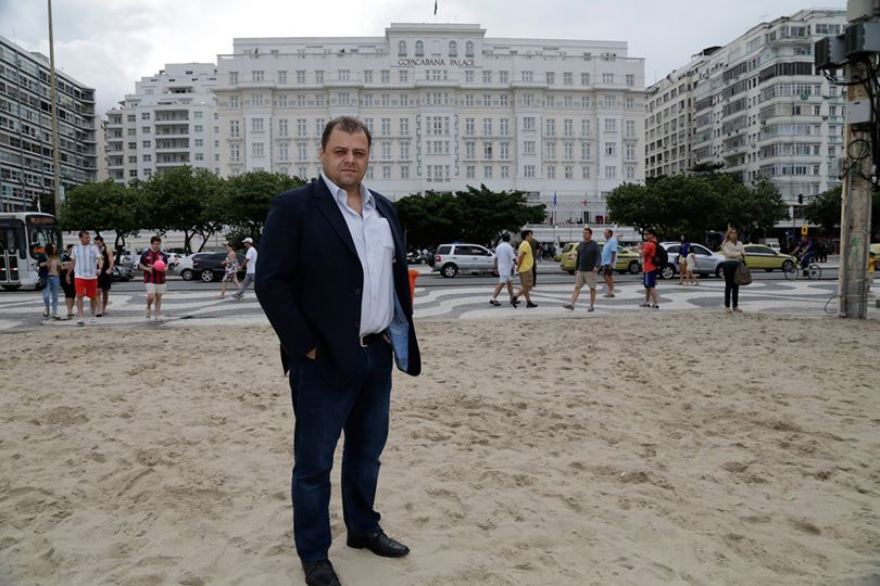 Heine Allemagne, inventor of the magic vanishing spray, in front of the Copacabana Palace, Rio de Janeiro