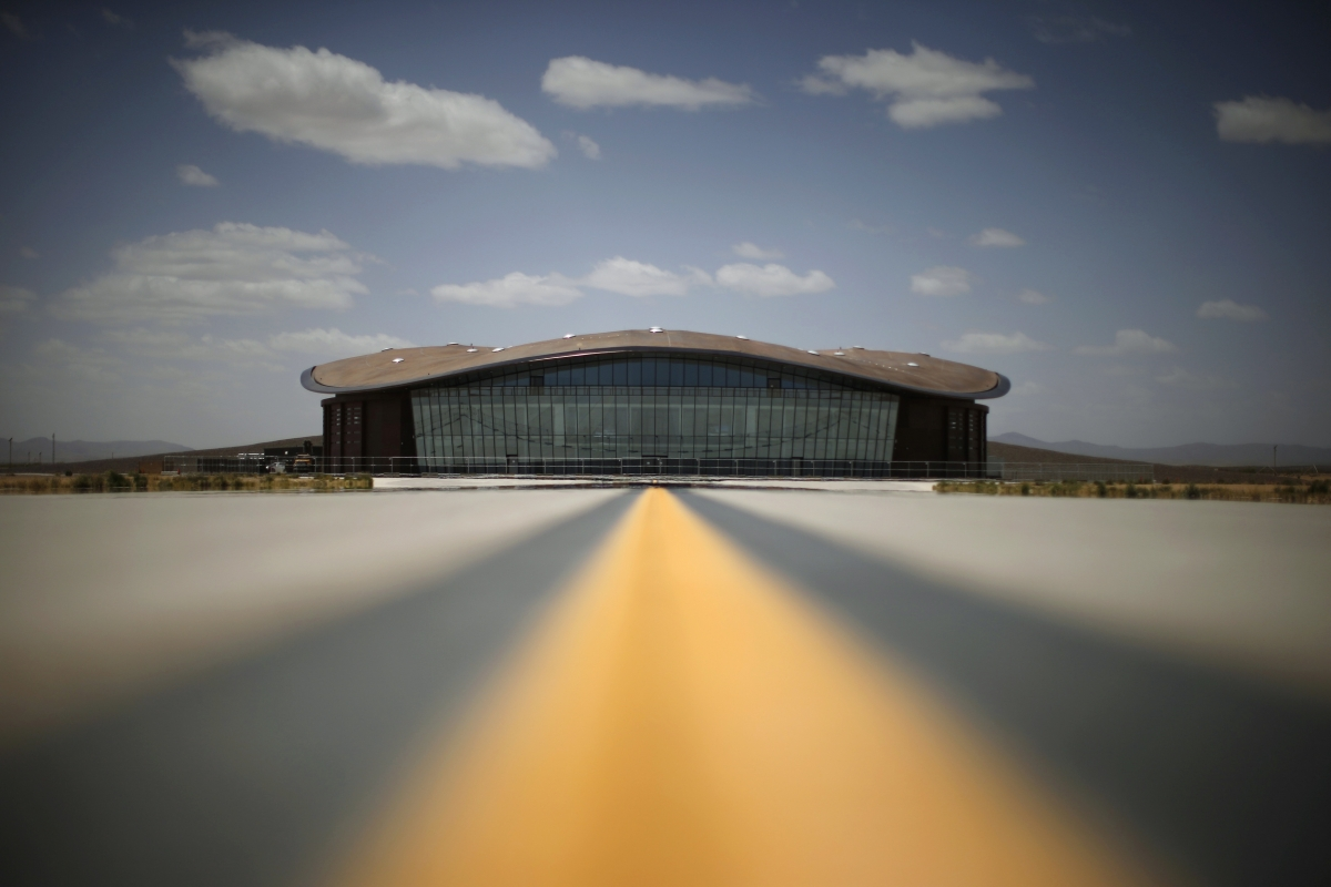 Spaceport America's Virgin Galactic Gateway to Space Building is seen near Truth or Consequences, New Mexico