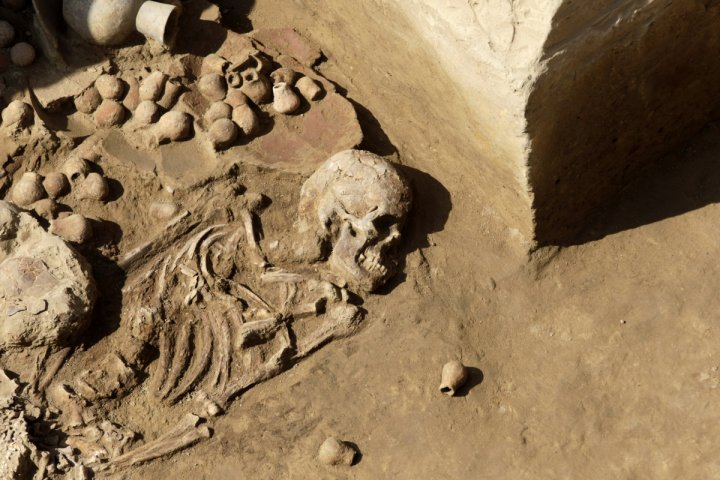 A skeleton with ceramic pots in the tomb of a priestess of the Moche culture