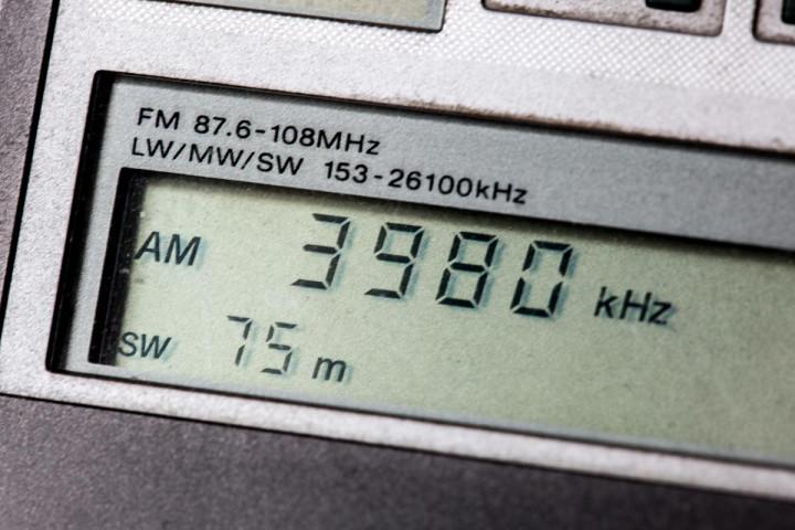 A shortwave radio dial