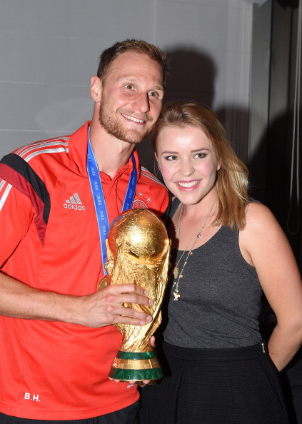 Benedikt Howedes of Germany and girlfriend Lisa Wesseler