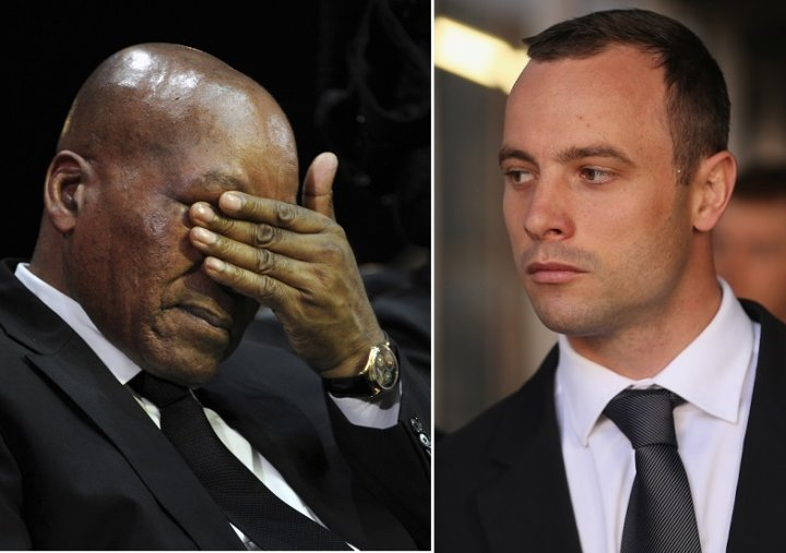South African president Jacob Zuma (l) was reportedly slurred by Oscar Pistorius during row at nightclub