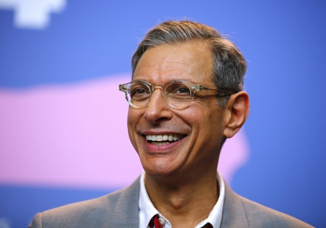 Jeff Goldblum smiles during a press conference