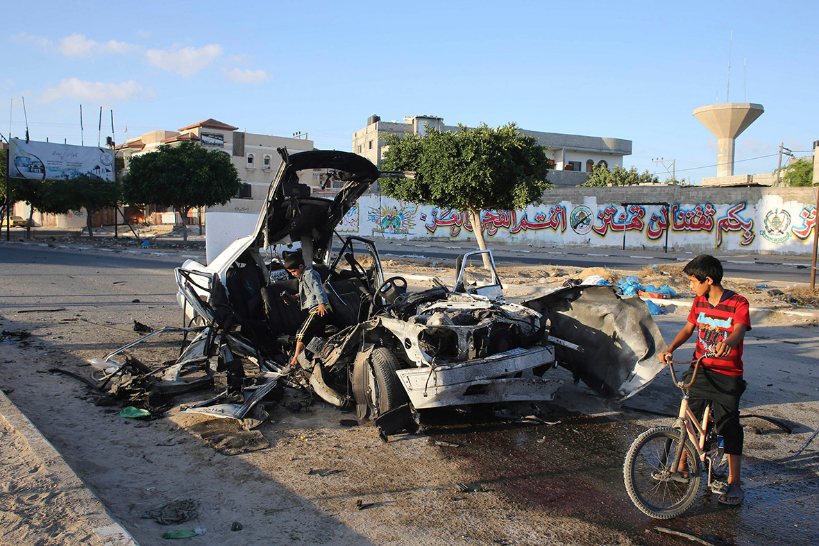 gaza car bombed