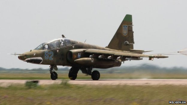 A Ukrainian Su-25 jet similar to the one Russia's air force is accused of shooting down.