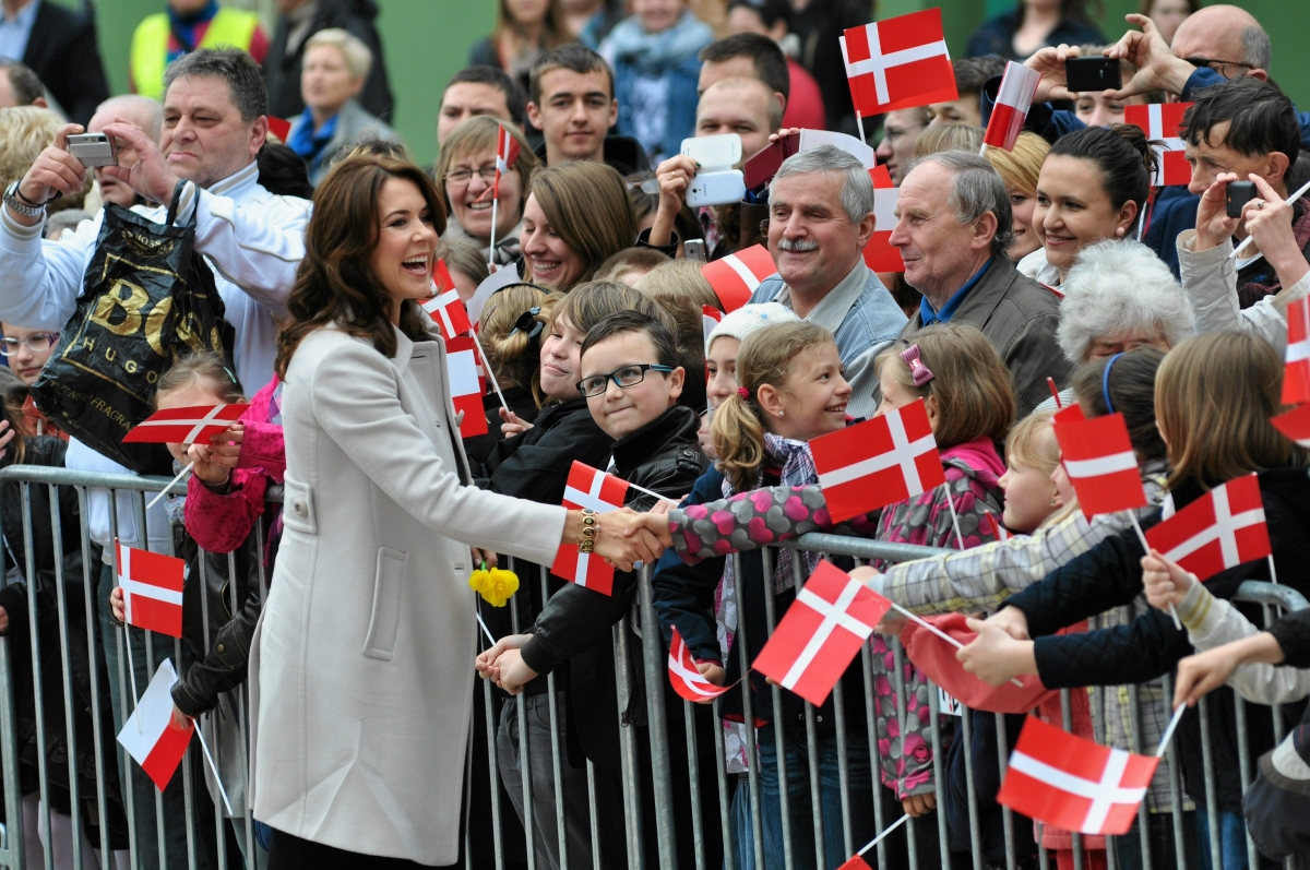 Denmark's crown princess Mary smiles at the crowd