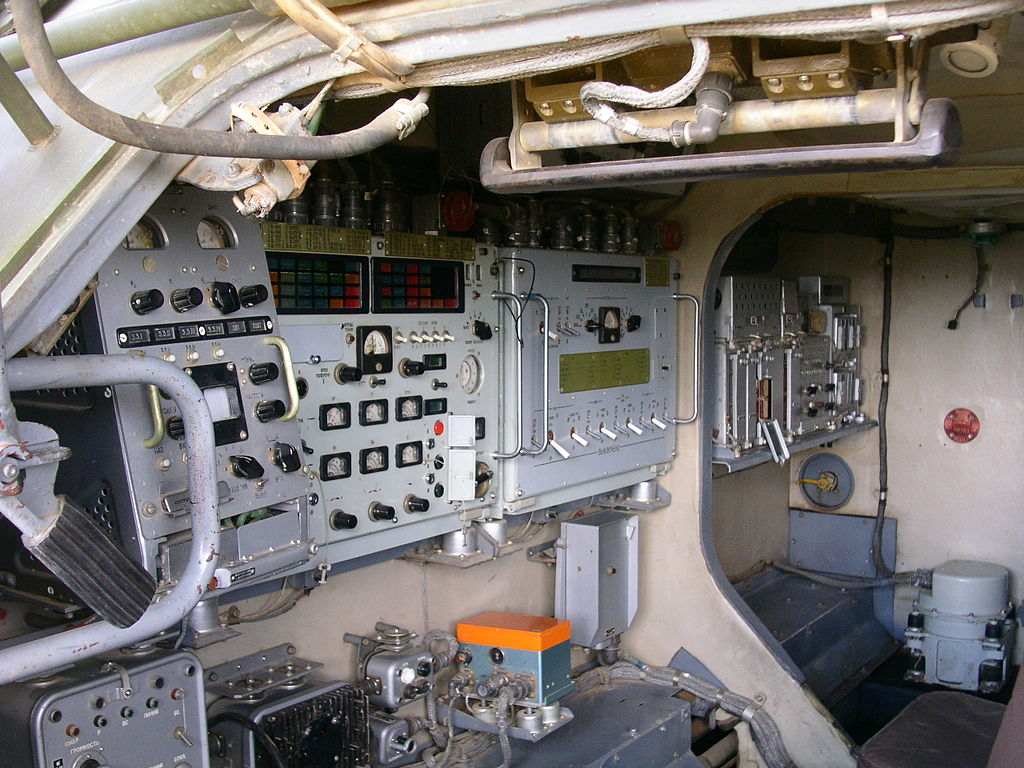 The interior of a Buk-M2E TEL vehicle
