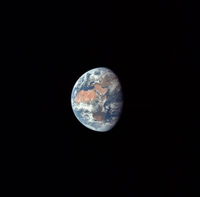 Earth as seen by Apollo 11 astronauts at the beginning of the third day