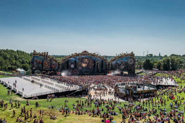 People attend the first day of the Tomorrowland electronic music festival in Boom, Belgium, on July 18, 2014.