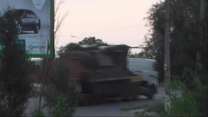 Still from the footage released by the Ukrainian MVS, which allegedly shows a Buk missile defense system entering rebel-held eastern Ukraine from Russia.