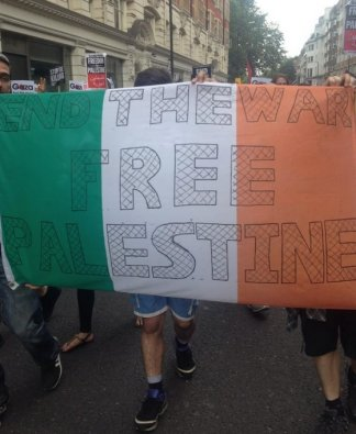 Irish protesters come out to demonstrate in support of Palestinians.