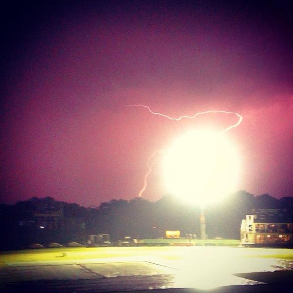 Picture taken from the dressing room of Kent Cricket Club as the thunder and lightning light up the sky.