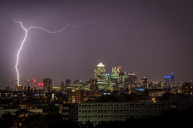 The tall towers of Canary Wharf are the location for this thunder storm.