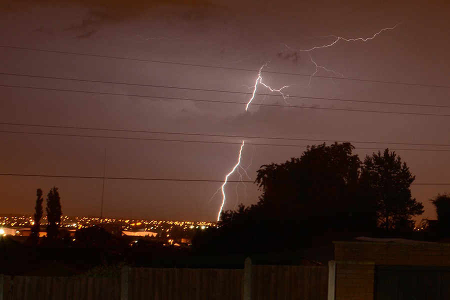 Lightning plays over the Bilston/Willenhall area in Wolverhampton.