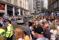 Two thousand protesters were expected to attend Sunday\'s pro-Israel rally.