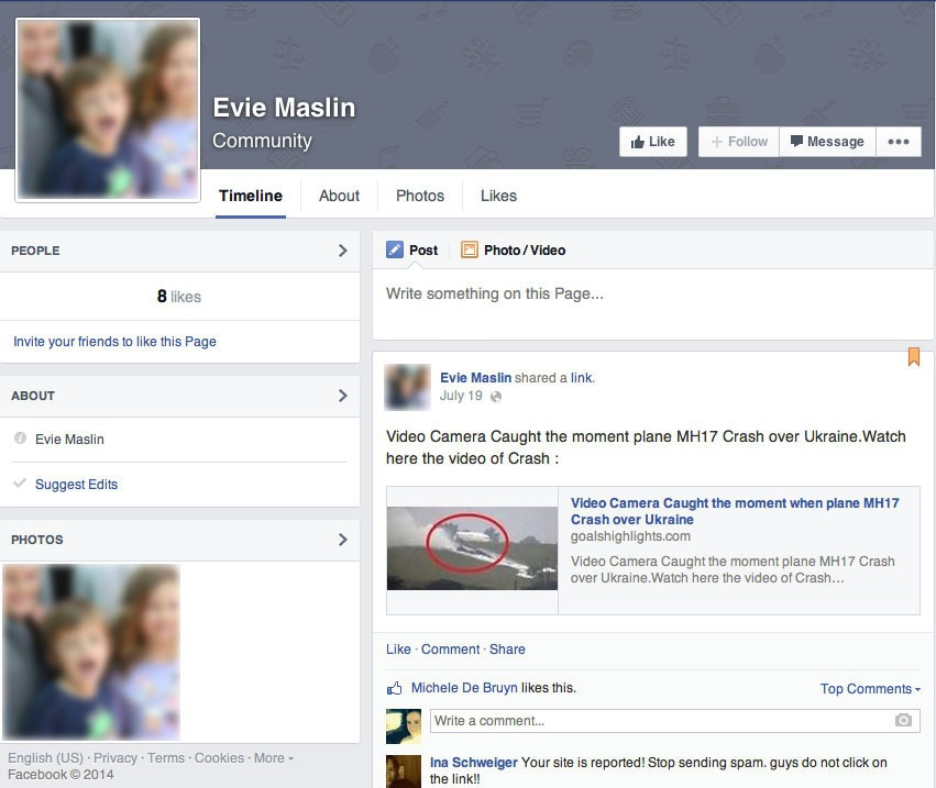 MH17 Malaysian Airlines Facebook Scam