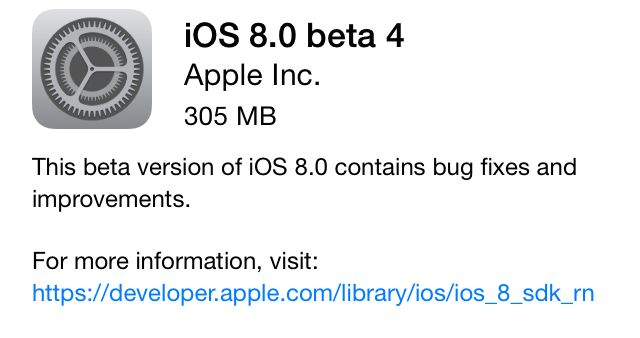 Apple Seeds iOS 8 Beta 4 for Developer Testing: What's New, How to Download and Install