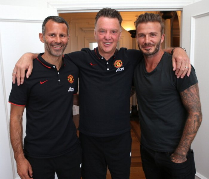 Ryan Giggs, Louis van Gaal and David Beckham