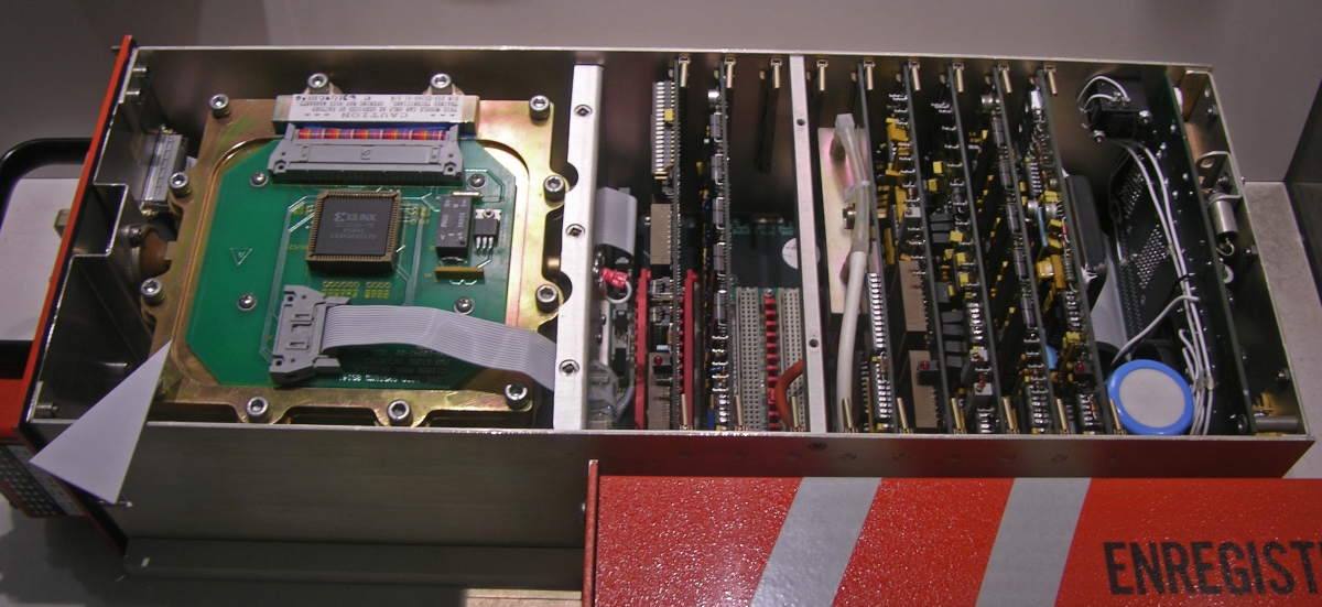 The inside of a modern flight data recorder, which stores data on a solid-state drive