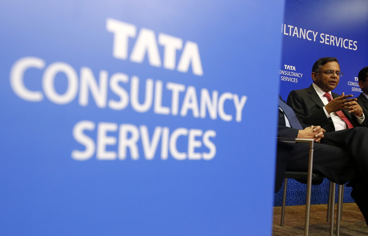 Tata Consultancy Services (TCS) Chief Executive N. Chandrasekaran speaks during a news conference in Mumbai