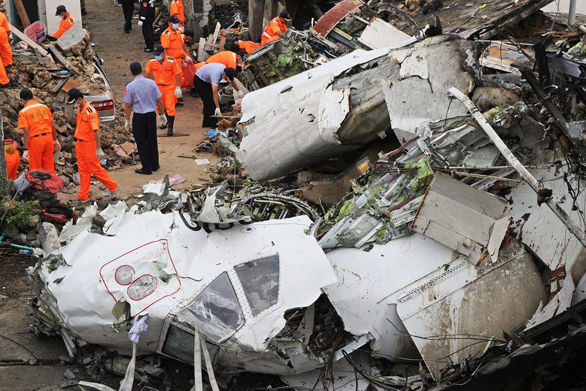 taiwan plane crash wreckage