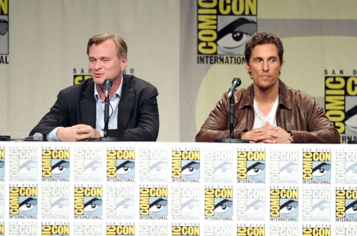 Writer/director Christopher Nolan (L) and actor Matthew McConaughey attend the Comic Con 2014