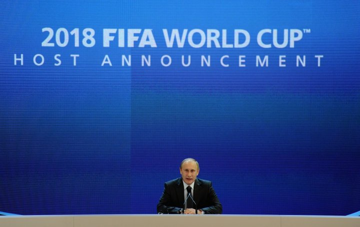 Russia's then Prime Minister Vladimir Putin speaks to the media after winning the 2018 World Cup bid. (Getty)