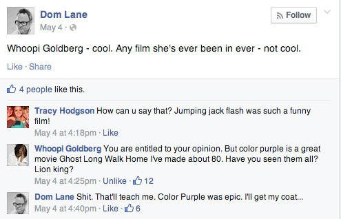 Whoopi Goldberg Facebook mentions app