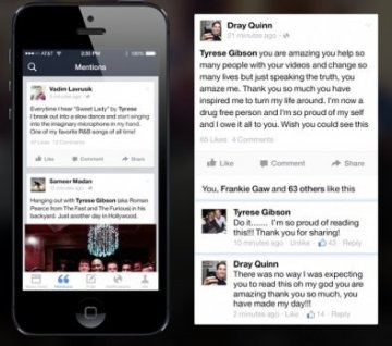 Tyrese Gibson Facebook mentions app