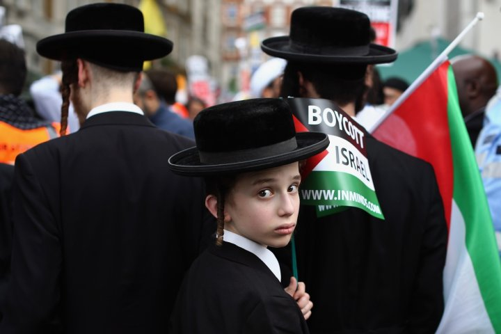 Jewish pro-Palestine demonstrators at a rally in London yesterday. (Getty)