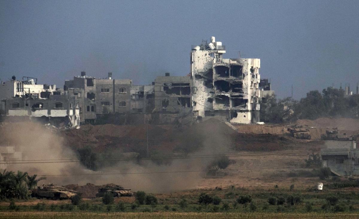 Israeli tanks are seen in the northern Gaza Strip