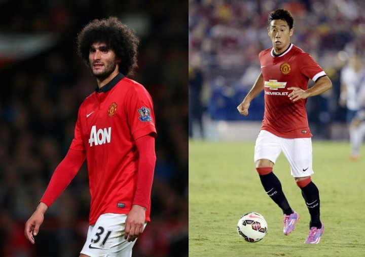 Marouane Fellaini and Shinji Kagawa