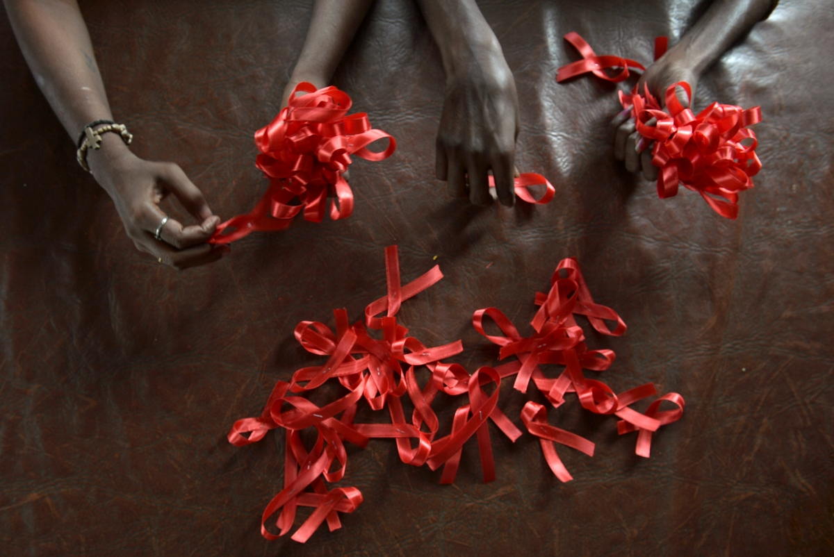 Aids red ribbons Bangalore women