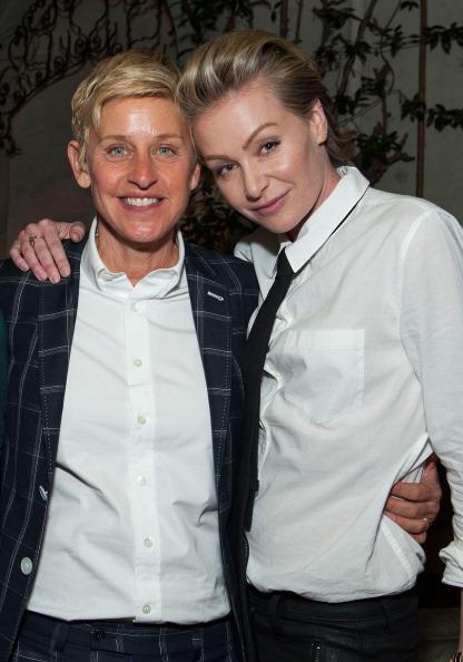 Ellen DeGeneres (L) and Portia de Rossi