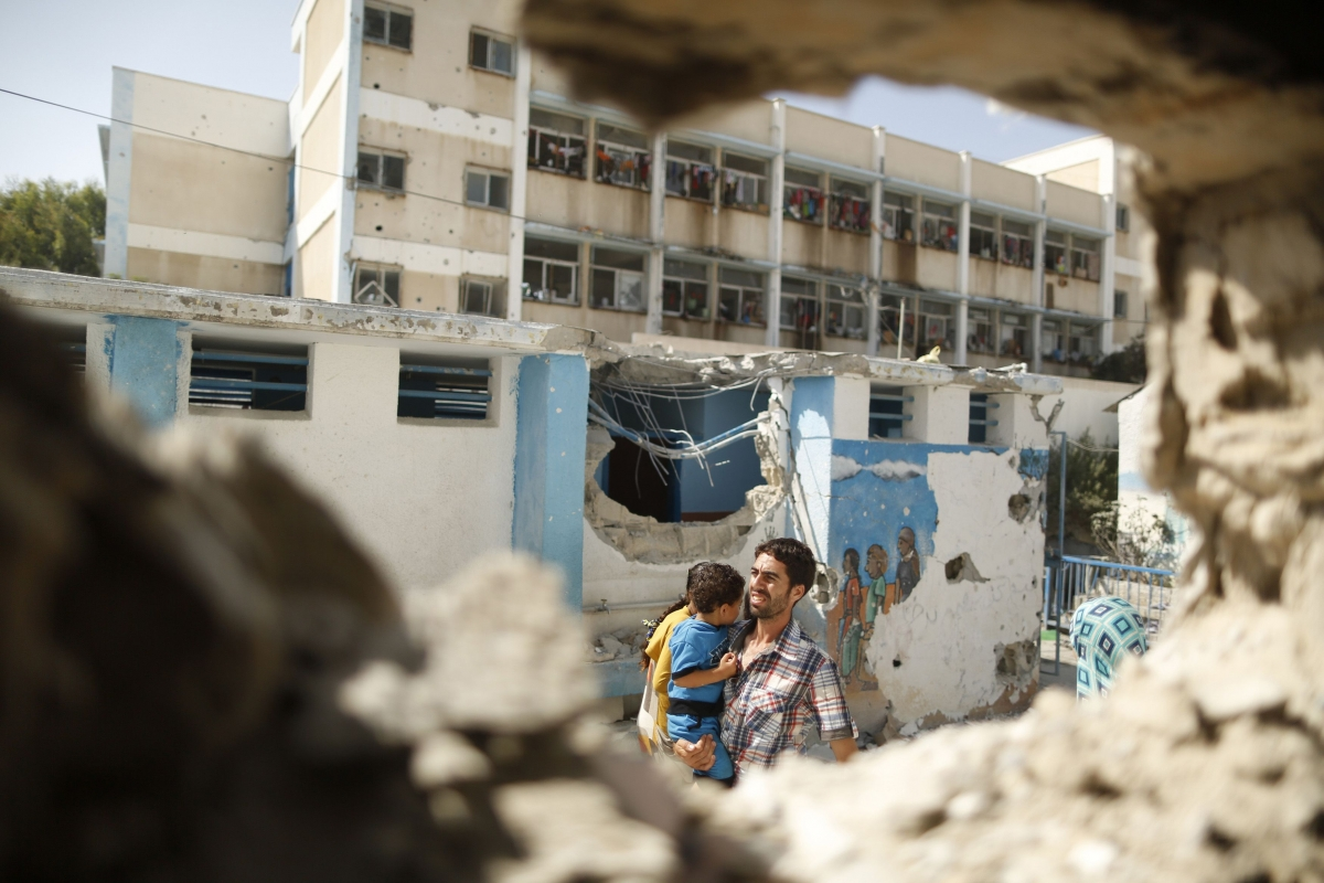 Wounded Children Evacuated to Hospital after Strike on UN School
