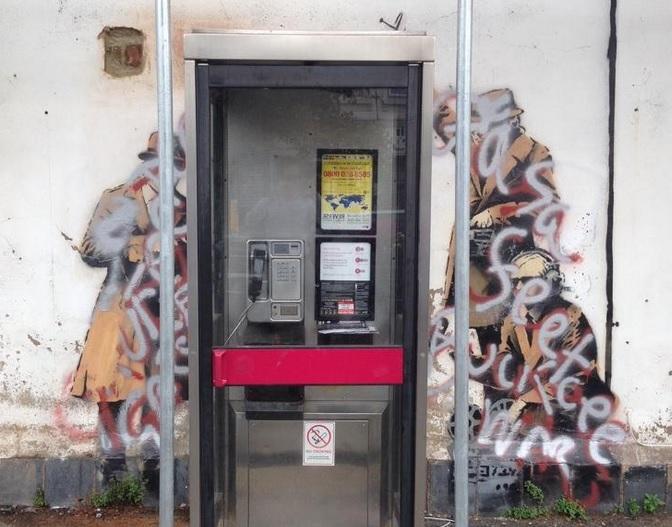 Banksy graffiti art in Cheltenham has suffered a graffiti attack