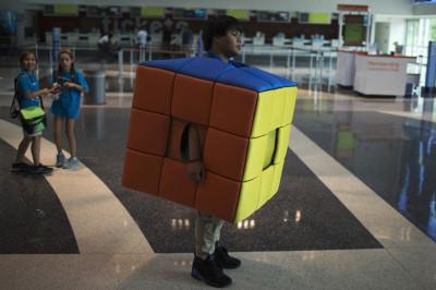 Volunteer Dressed as Rubiks Cube